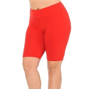 Red Basic Solid Plus Size Shorts - 3 Inch